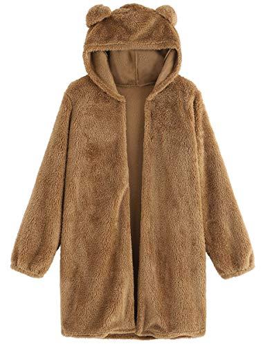 Romwe Women's Long Sleeve Bear Ear Hooded Fleece Sweatshirt Open Front Cardigan Coat Brown M