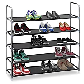 Halter 5 Tier Stainless Steel Shoe Rack / Shoe Storage Stackable Shelves - Holds 15-20 Pairs Of Shoes - 35.75
