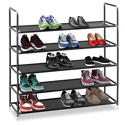 Tier Stackable Shoe Rack (Halter 5 Tier Stackable Shoe Rack Storage Shelves - Stainless Steel Frame Holds 25 Pairs Of Shoes - 35.75