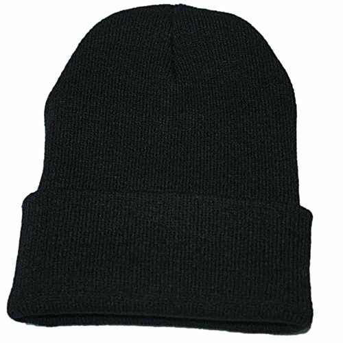 Kimloog Unisex Cuffed Acrylic Knitting Winter Warm Beanie Caps Soft Slouchy Ski Hat (Black) for $<!--$2.05-->
