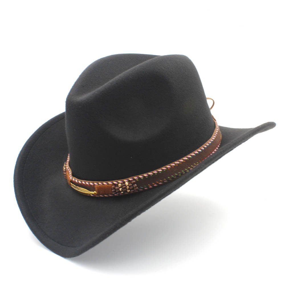 Ruanyi Western Cowboy Hat,Fedora Sombrero Hombre Caps Fashion Women Men Hat with Roll Up Brim for Unisex (Color : Coffee, Size : 56-58cm)
