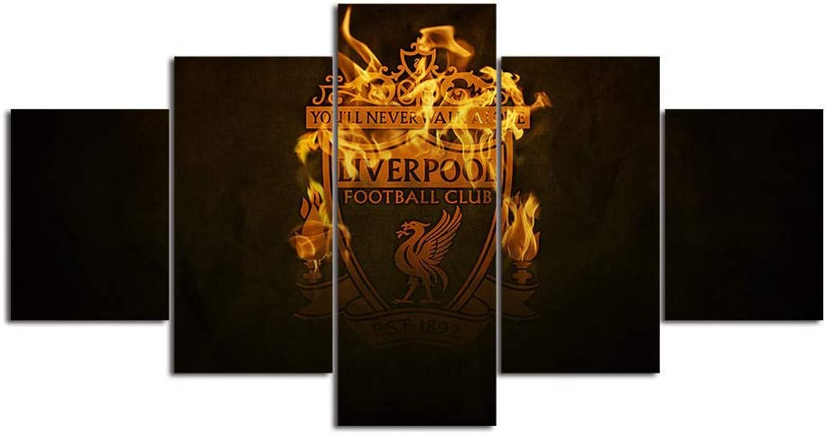 Liverpool Wall Art 5 Piece Canvas Paintings FC Football Club Picture Poster 6 Home Decor for Living Room Artwork Framed Ready to Hang-200x100cm