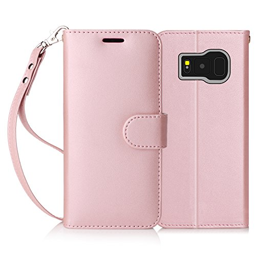 FYY Galaxy S8 Plus Case,[RFID Blocking wallet] 100% Handmade Wallet Case Stand Cover Credit Card Protector for Samsung Galaxy S8 Plus Rose Gold