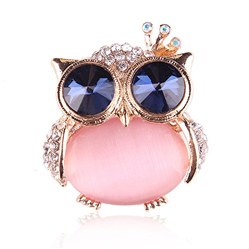 Reizteko Brooch Lapel Pin Shawl Clip Corsage in Crystal Rhinestone Alloy, Jewelry Gift for Women Men (Owl Pink)