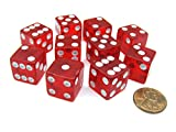 : 16mm d6 Red Translucent Square Edge Dice with Pips