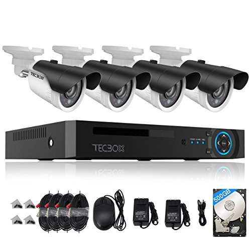 TECBOX 4CH AHD 720P DVR Security Camera System with 4 HD ...