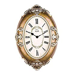 DEED Wall Clock-Vintage Mute Metal Accurate European Style Living Room Mute Creative Clock Antique Resin Quartz Hanging Table,16 Inches,B