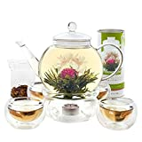 Teabloom Complete Blooming Tea Set: Glass Teapot, 12 Flowering Tea Sampler, Teapot Warmer, 4 Double-Wall Glasses & Loose Tea Infuser - Best Flowering Tea Gift Set