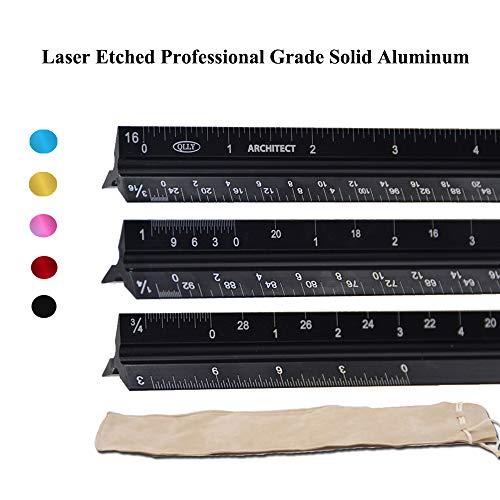 QLLY - Regla de báscula de aluminio macizo de grado profesional, ideal para arquitectos, estudiantes, artesanos e...