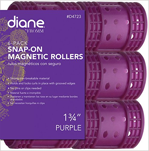 Diane Snap On Magnetic Roller, Purple, 1.75″, 6/bag