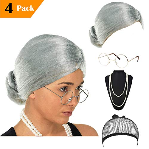 eforpretty Womens Cosplay Costume Old Lady Wig, w/Round Glasses & Pearl Necklace Beads Costume Accessories (C6)