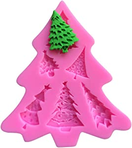 Efivs Arts 6 Christmas Trees Silicone Molds Fondant Mold Sugar Craft Tools and Gum Paste Mold Cake Decoration Tool