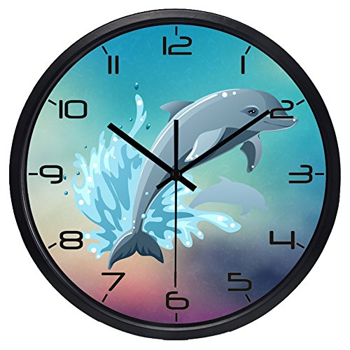 e Cartoon Jumping Dolphins Design Silent Non-ticking Quartz Digital Wall Clock ()