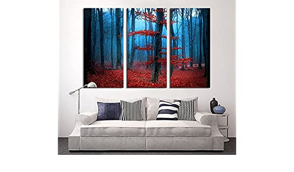 Red Forest Large Wall Art Print Extra Large 3 Panel Art Canvas Print Canvas Large Art Print Dark Forest Streched Ready to Hang 16x32 inch Each Panel- 48x32 inch Total