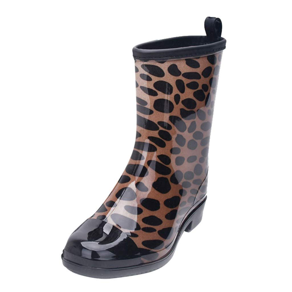 Kauneus Women Half Calf Rubber Rainboots Floral Printed Waterproof Rubber for Garden Women rain Footwear Brown by Kauneus Fashion Shoes