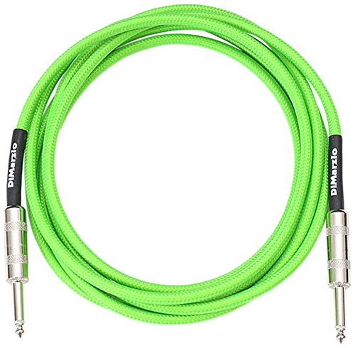 DiMarzio Neon Overbraid Instrument Cable Green 10 ft. by DiMarzio