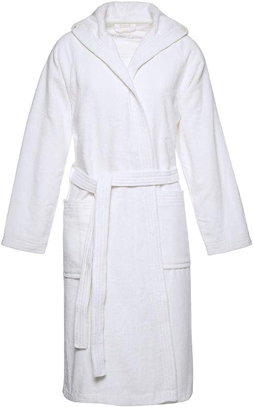 Christian Lacroix - Albornoz con capucha, para hombre y mujer, talla S/M, 100% algodón natural peinado, color blanco: Amazon.es: Hogar