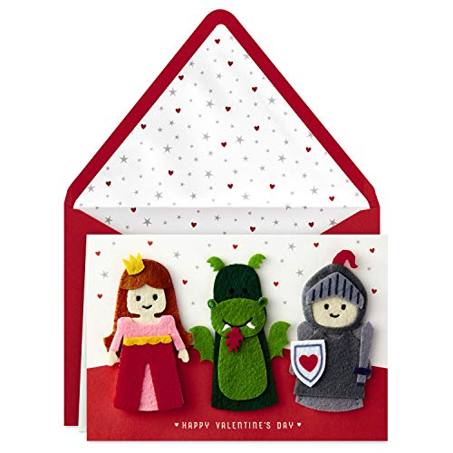 Hallmark Signature Valentine's Day Card for Kids with Finger Puppets (Princess, Knight, Dragon) (Best Valentines Cards For Him)