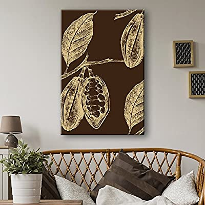 Canvas Wall Art - Hand Drawn Coffee Seeds on The Plant - Giclee Print Gallery Wrap Modern Home Art Ready to Hang - 12x18 inches
