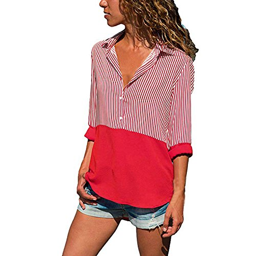(EOWEO 2019 Anniversary Women Fashion Long Sleeve Striped Patchwork T Shirts Loose Casual Blouses Red)