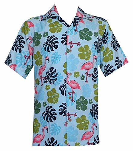 Alvish Hawaiian Shirt 37 Mens Flamingo Leaf Print Beach Aloha Party Aqua Blue (Aqua Hawaiian Print)