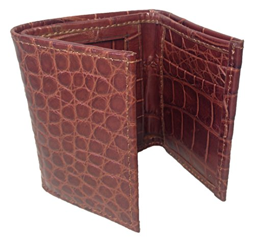 Men's Cognac Alligator Genuine Safari gloss Trifold Wallet Sultan Semi 17UFPqgP