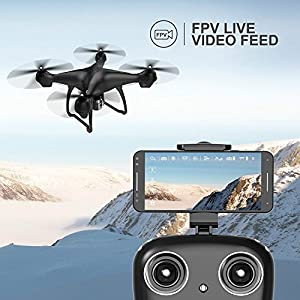 RC Drone with Camera, MaQue FPV Live Video and GPS Return Home Quadcopter with Adjustable Wide-Angle 720P HD WIFI Camera- Follow Me, Altitude Hold, Intelligent Battery, Long Control Distance from MaQue