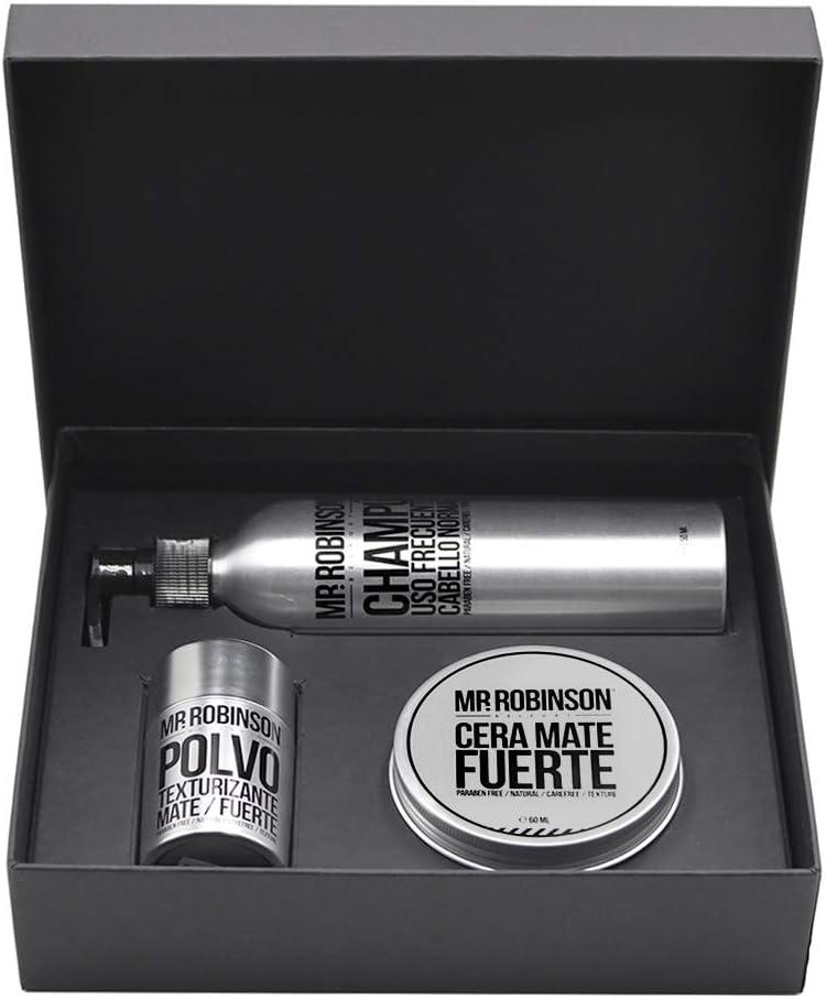 Pack regalo para hombre: champú, cera y polvos para peinado | Kit de cuidado personal para hombre Mr. Robinson Belfort | Cuidado para el pelo profesional | Sin parabenos