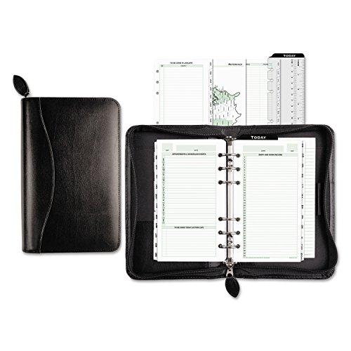 Recycled Starter Set - Day-Timer Starter Set Organizer, Bonded Leather, Potable Size, Black (D41746)