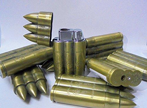 7 Eclipse Hunter Triple Bullet Novelty Torch Flame Lighters, Refillable Butane Lighter 1614-3-7