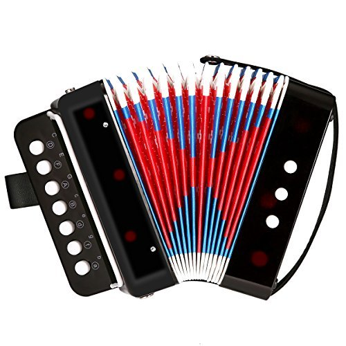 (NASUM Accordion Kid's Accordion,Toy Accordion,Solo and Ensemble Instrument,Musical Instrument for Early Childhood Teaching,Ten Keys,Black)