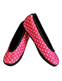 Nufoot Ballet Flats Women's Shoes, Best Foldable & Flexible Flats, Slipper Socks, Travel Slippers & Exercise Shoes, Dance Shoes, Yoga Socks, House Shoes, Indoor Slippers, Pink Polka Dots, Medium