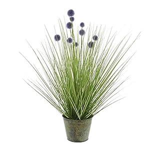 27.5 in. Tall Artificial Onion Grass Plant Purple Pompom Flowers Metal Pot Product SKU: HD222560 39
