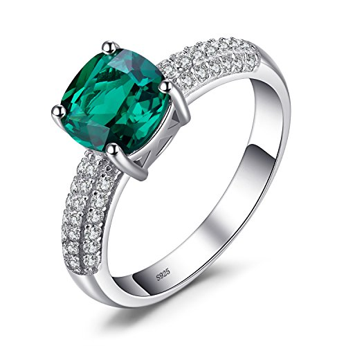 JewelryPalace Cushion 1.8ct Simulated Green Russian Nano Emerald Solitaire...