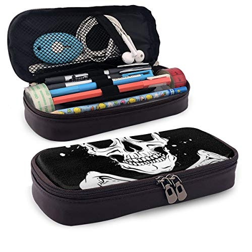- Synthetic Leather Pencil Case Pirate Black Flag with Skull and Crossbones Pen Pouch Holder Zipper Pen Pouch Pencil Holder Case for School Work Office