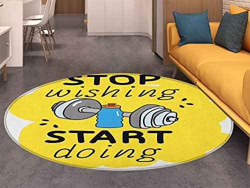 - Fitness Round Area Rug Stop Wishing Start Doing Inspiring Inscription Dumbbells Water Sports Doodle Style Indoor/Outdoor Round Area Rug Multicolor