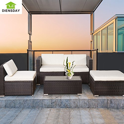 diensday deluxe aluminum 5 piece all weather cushioned indoor outdoor patio pe rattan furniture. Black Bedroom Furniture Sets. Home Design Ideas