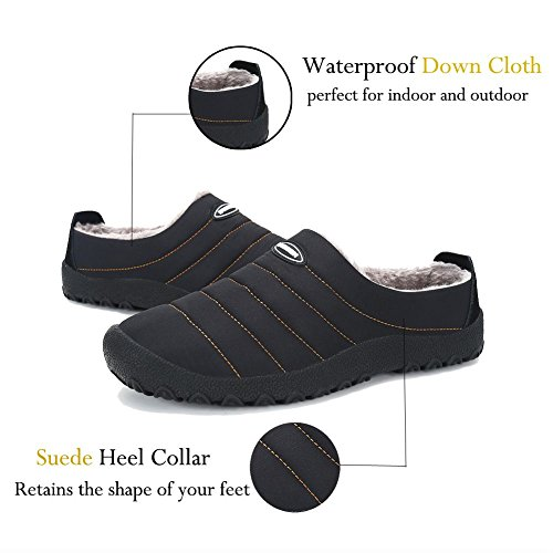 Lxso Men Women House Slippers Soft Plush Lined Slip On Winter Indoor Outdoor Shoes With Non-Slip Sole Black 3VS5HHr6zT
