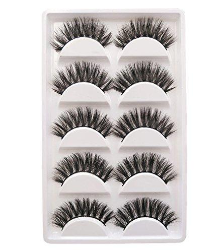 5Pairs Real 3D Mink Hair Natural Long Thick Handmade Makeup Eyelashes False Eye - False Eyelashes Real Hair