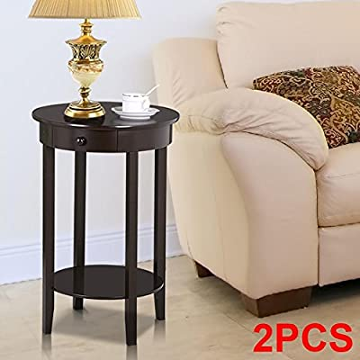 Yaheetech Round Sofa Side End Table with Drawer Wood Beside Nightstand Console Table for Small Spaces Living Room Tall Coffee Accent Tables (Espresso)