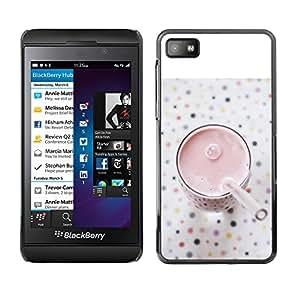 For Blackberry Z10 Case , Healthy Smoothie Strawberry - Diseño Patrón Teléfono Caso Cubierta Case Bumper Duro Protección Case Cover Funda