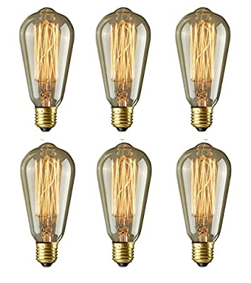 Vintage Edison Bulb-60 watt Dimmable-Squirrel Cage Filament Incandescent Light Bulbs Medium Base E26, 6-Pack