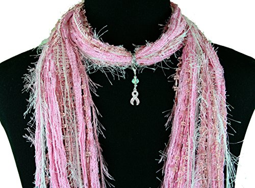 Pink Ribbon Breast Cancer Awareness Scarf Necklace