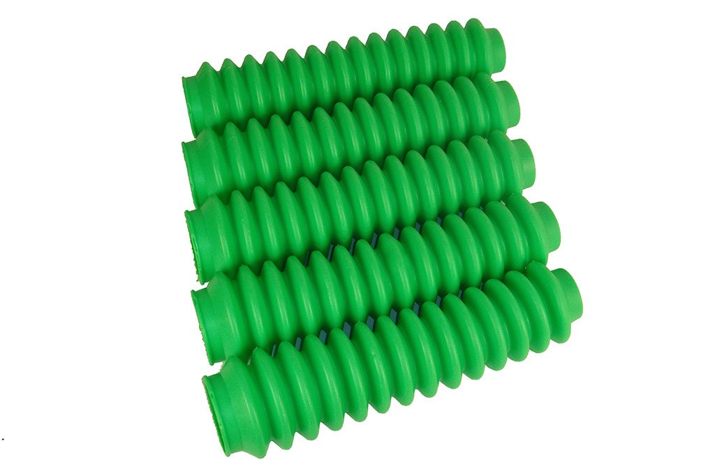 5 Pack Fluorescent or Lime Green Poly-Vinyl Shock Boots fits Jeep Wrangler JK All Years with Aftermarket Shocks