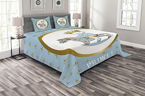 (Ambesonne Gender Reveal Bedspread, It's a Prince Words with a Newborn Boy Riding a Horse Fleur de Lis Motifs, Decorative Quilted 3 Piece Coverlet Set with 2 Pillow Shams, Queen Size, Multicolor)