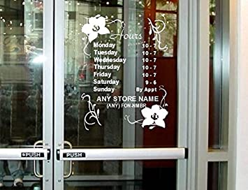 Amazoncom StickerLoaf Brand STORE HOURS CUSTOM WINDOW DECAL - Window stickers for business hours