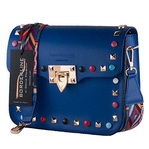 BORDERLINE - 100% Made in Italy - Mujer bolso de cuero con tachuelas y pequeña correa de hombro de colores - ARIANNA Electric Blue