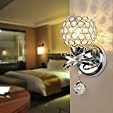 Reelva Modern Silver Chrome Crystal LED Wall Light Lamp Sconce Fixture Bedroom Hallway with E14 Socke
