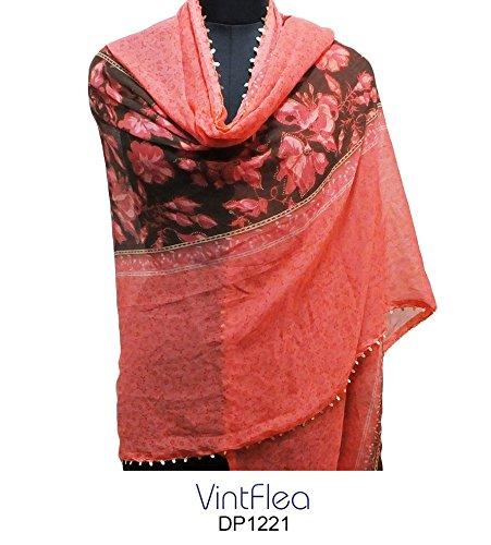 "Pink Long Stole Indian Fashion Scarf Floral Printed Fabric Hijab Women Wrap Veil 84"" x 43"" Shoulder Dupatta Georgette Craft Sari Scarves"