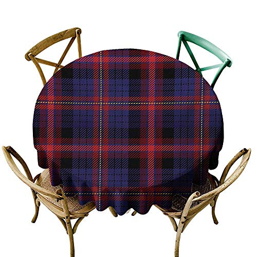 Wendell Joshua 100% Polyester Round Tablecloth 39 inch Checkered,Vibrant Colored Old Fashion Pattern Folkloric British Culture Inspired,Royal Blue Red Black Polyester Fabric Table Cloth